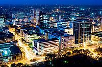 Aerial view of city at night looking northeast nairobi kenya