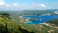 Aerial view on Paleokastritsa Palaiokastritsa bays, greek Island of Corfu Ionian Sea