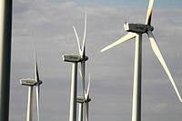 Spain, Catalonia, Lleida province, Tarres, Windmills at the Pla del Cintet