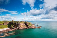 Dunnottar Castle, Stonehaven, Aberdeenshire, Scotland  A medieval fortress located on a rocky outcrop 3 km south of Stonehaven  The site has held a fo...