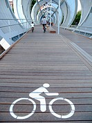 Signal cycling bridge over the river Manzanares river in Madrid