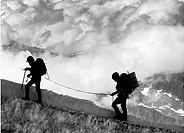 climbing in French Alps, Chamonix region, close to Aiguille du Midi, close to Mt Blanc, France, Europe