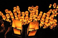Bologna (Italy): paper lanterns floating in the Giardini Margherita's lake after sunset, to commemorate Hiroshima atomic bomb's massacre (August 6th)