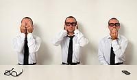 Office Etiquette - Man as Three Wise Monkeys in Workplace
