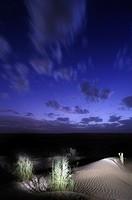 Africa, Tunisia, Tembaine  Artificial floodlight illumination in the Sahara desert