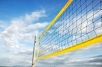 Detail of a volleyball net on the beach