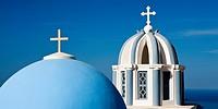 Church Dome and Bell Tower Firostefani Santorini Cyclades Islands Greece