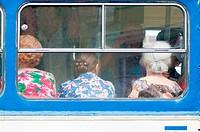 Three women on a bus in Yalta, Ukraine