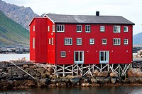 Houses on the harbour of Nyksund village, Langøya island, Vesterålen archipelago, Troms Nordland county, Norway