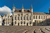 Burg Square with the Town Hall ´Stadhuis´ The Gothic town hall was built from 1376 to 1420 It is one of the oldest Gothic town halls in Flanders, Brug...