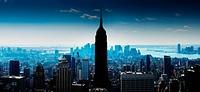 Creative aerial Manhattan panorama with Empire State Bilding, Hudson river and lower Manhattan
