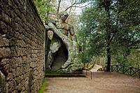 Hercules slaughters Cacus, Parco dei Mostri monumental complex, Bomarzo, Viterbo, Lazio, Italy