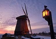 Dutch Windmill at dusk, Schermerhorn, Noord Holland, Netherlands