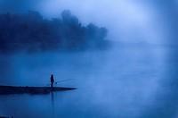 Europe, France, Var 83, Lake Saint Cassian, fisherman in the early morning