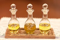 The Oil of the Infirm Oleum Infirmorum, the Holy Chrism Sacrum Chrisma, and the Oil of Catechumens Oleum Catechumenorum or Oleum Sanctorum