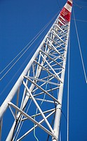 Guyed support type of telecommunication mast´s steel structure  Location Oulunsalo, Finland, Scandinavia, Europe