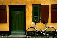 Denmark, Copenhagen, Bicycle and Apartment Building
