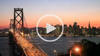USA_California_San Francisco City_Bay Bridge and Downtown at sunset