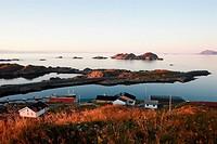Sunset over the fishing village Hovden on island Langoya, Nordland, Norway