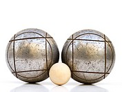 Petanque set on white background