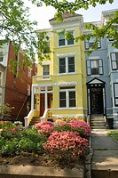 Washington DC, USA: Dupont Circle area, noted for its fountain, street musicians, bookstores, shops, embassies, and brick houses. Lovely yellow brick ...