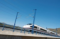 view of a high-speed train crossing a viaduct in Bubierca, Saragossa, Aragon, Spain, AVE Madrid Barcelona