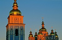 The domes of St Michael´s cathedral at sunset, Kiev, Ukraine
