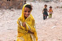 Portrait of a village girl, Qalansiyah, Socotra island, listed as World Heritage by UNESCO, Aden Governorate, Yemen, Arabia, West Asia.