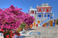colored house on Mykonos, Greece