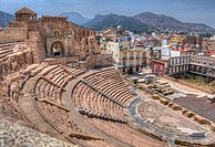 HDR of The Roman Theatre of Carthago Nova and Cathedral ruins of Cartagena in the region of Murcia, Spain