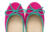 Ballet Flats, Women´s Flat Shoes, Pink with Green Trim and Bow