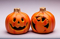 Plastic Halloween Jack o´ Lantern decoration imitating curved pumpkin
