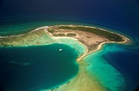 Aerial view of coral reef fringed Noronki in Los Roques Archipelago