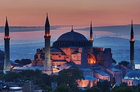 Hagia Sophia museum and Bosphorus at sunrise, Istanbul, Turkey