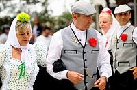 People wearing traditional costumes during San Isidro fair, Madrid, Spain