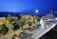 Views of Pratu Tha Phae Gate and square at night, Chiang Mai, Thailand