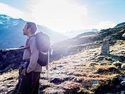 man during a trek in the Forni Valley, Valtellina, valfurva, Lombardy, Italy.