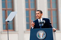 The US President Barack Obama giving the speech at Prague Castle in Prague, 4 April 2009