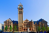 Old City Hall with clock tower and court of justice Toronto Ontario Canada