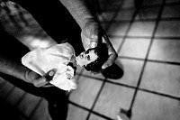 Pastor Hugo Alvarez breaks an idol during the exorcism ritual at the Church of the Divine Saviour in Mexico City, Mexico, 31 May 2011  Exorcism is an ...