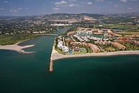 Aerial view of Sotogrande´s marina  Guadiaro river´s mouth, golfs and polo courts behind  Gibraltar´s Strait area, Spain.