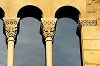 Window Detail of the Royal Palace, Tinell Hall, Gothic XIV century, King Square, Barcelona, Catalonia, Spain.