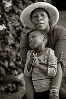 Black mother with child