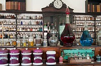 Counter and shelves at the pharmacist´s store at the Blists Hill Victorian Town, Ironbridge Gorge, Shropshire, England