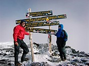 A couple at Africa´s highest summit, Mount Kilimanjaro