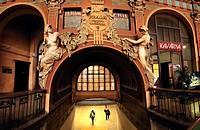 Prague, Czech Republic. Hlavni nadrazi / Main Railway Station. Art Nouveau detail in old part of the station