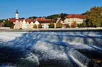 view over Lech river towards Landsberg oldtown, Upper Bavaria, Germany, Europe