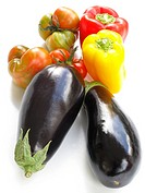 Aubergines, tomatoes and peppers