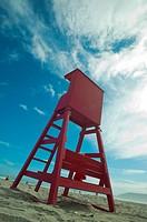 A lifeguard station on the beach. High chair.