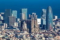 Spain , Catalunya Region , Barcelona City,Diagonal Mar Skyline , Sagrada Familia and Agbar Tower